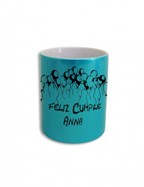 Taza color con efecto purpurina.